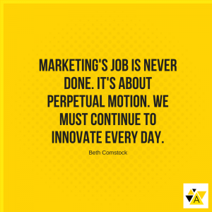 """Marketing's job is never done. It's about perpetual motion. We must continue to innovate every day."" – Beth Comstock"